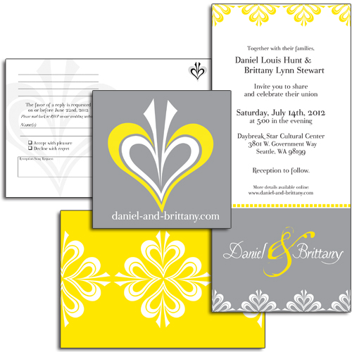 3-Piece Vertical Wedding Invitation