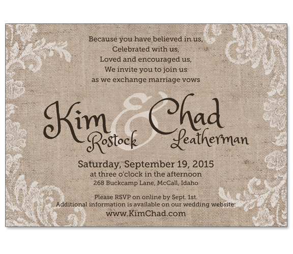 Kim & Chad Wedding Invitation