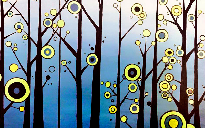 West Seattle Acrylic Painting Abstract Swirl Trees